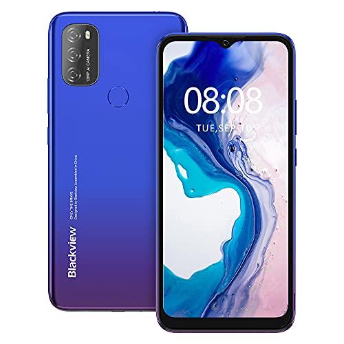 Android 11 Smartphone ohne Vertrag Günstig, Blackview A70 6.517 Zoll HD Octa-core, 5.380mAh Batterie, 3GB RAM+32GB Speicher, 13MP+5MP Kamera, Fingerabdruck & Face ID Dual SIM Einsteiger Handy (Blau)