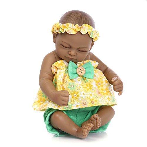 Nicery Indien Style Peau Noire Vinyle Silicone Simulation dur 10inch 26cm étanche Jouet jaune Fille Reborn Bébé Bain Poupée avec les yeux acryliques Baby Doll Cadeau de Noël