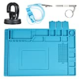Anti Static Mat, Heat Resistant 932°F Silicone ESD Mat with Wrist Strap, Magnetic Repair Mat for Soldering Iron, PC Building, Cellphone, Laptop, Computer, 17.7x11.8 x 0.7 Inch Blue