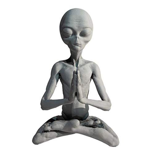 Gazechimp Resin UFO Alien Sculpture Ornament Figurine Statue Office Desktop Art Craft
