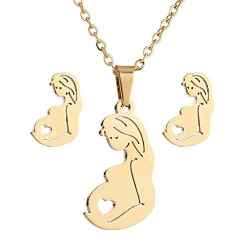 RG-FA Acero inoxidable embarazada mamá bebé colgante collar pendientes madre joyería conjunto - oro