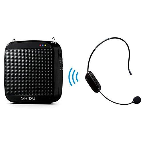 Amplificatore vocale wireless, SHIDU Amplificatore vocale wireless UHF 18W Sistema PA portatile ricaricabile Altoparlante con microfono wireless Cuffie per insegnanti, canto, istruttori di fitness