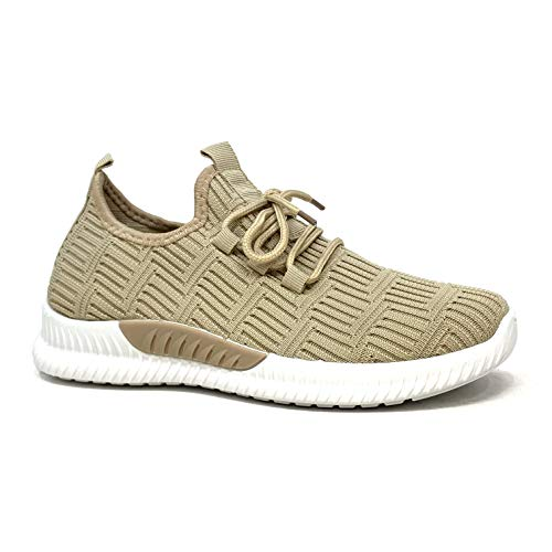 Angkorly - Damen Schuhe Sneakers - Turnschuhe - Tennis - Street - Sock Boots - Strick - Streifenmuster - Spitze Flache 3 cm - Beige 6 G-330 T 40