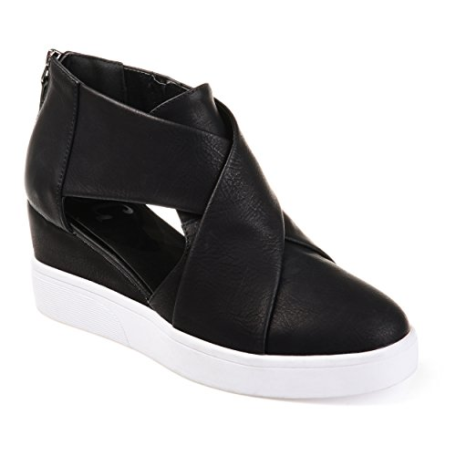 Journee Collection Womens Athleisure Criss-Cross D'Orsay Sneaker Wedges Black, 9 Regular US