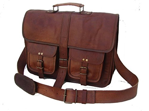 leather bags Vintage Soft Leather Messenger Brown Real Laptop Satchel Bag Genuine Briefcase