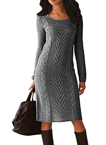 Dearlove Women's Casual Long Sleeve Crew Neck Loose Cable Knit Pullover Sweater Bodycon Pencil Midi Dress Knee Length Solid Grey M 8 10