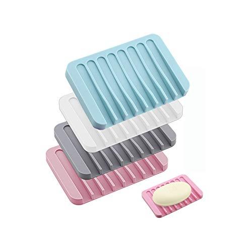 SansRealmL 4 Stück Seifenschale, Silikonseifenschale mit Abfluss, 4er-Set,Rutschfester Seifenhalter