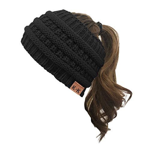 KQueenStar Damen Gestrickt Stirnband -1/2/3/4 Stück Elastische Häkelarbeit Headwrap Design Stirnbänder Winter Kopfband Haarband Crochet Headwrap Ohr Wärmer, Schwarz A, Einheitsgröße