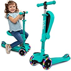 KicksyWheels Scooters for Kids - 3 Wheel Toddler Scooter for Boys & Girls - Toddlers and Kids Toys for 1 Year Old and Up - Three Heights & Light Up Wheels (Teal, with Seat)