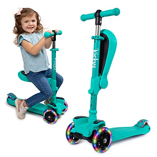 Kicsky Wheels Scooters for Kids with Seat Folding and Removable - 3 Wheel Toddler Scooter for Boys &...