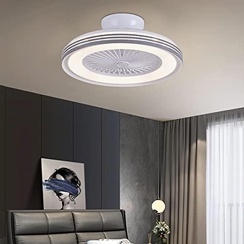 Lámpara De Techo Con Luz Y Mando A Distancia Ventilador De Techo Con Luz Moderna Silencioso Velocidad Del Viento Ajustable Regulable 3 Colores Plafón De Techo Lluminación Luz Del Ventilador,Blanco