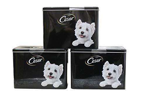 homeshop3000 Cesar Leere Aufbewahrungsbox für Hundefutter und Haustier-Leckerlis, 19 x 9 x 14 cm, Schwarz
