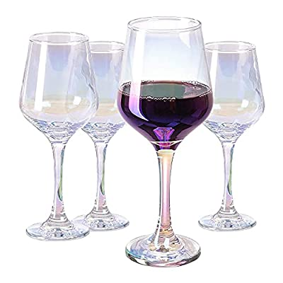 Vastto 15 Ounce Iridescent Crystal Wine Glass,for Home Dinning, Bar, and Party,Set of 4 (Rainbow-colored)