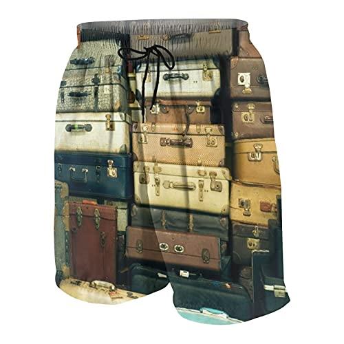 SUHOM De Los Hombres Casual Pantalones Cortos,Un montón de Maletas Antiguas de época,Secado Rápido Traje de Baño Playa Ropa de Deporte con Forro de Malla