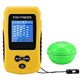Adkwse Portable Fish Finder Wireless Transducer Fishfinder for Boat, Kayak Ice Fishing, Shore Fishing and Sea Fashing (Yellow)