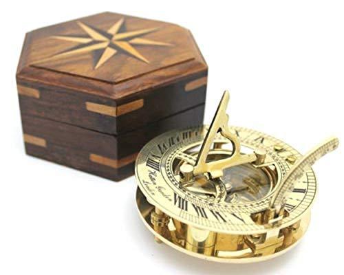 Reloj solar y brújula (latón pulido, caja de madera inclui