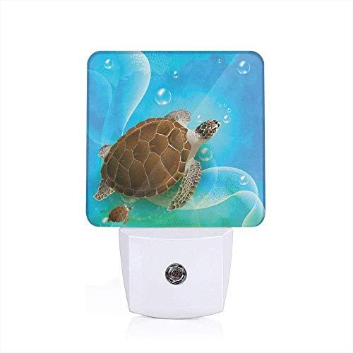 Zeeschildpaddenfamilie decoratie zwemmen in de oceaan blazen onderwaterwereld plezier met tekenentrickfiguren grafisch groen blauw bruin levendig zacht licht Sconce-UK_wit