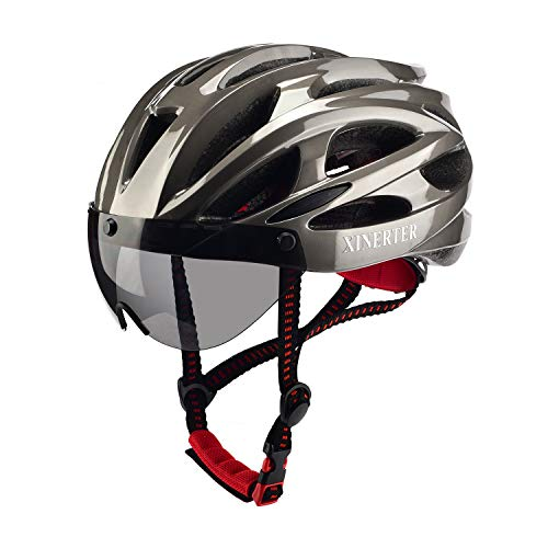 StanPer Adult bicycle helmet,mountain bike helmet and Detachable Magnetic Goggles,Replacement Lining Removable & bike helmet men, Adjustable Size 22-24.2 Inches. (titanium)