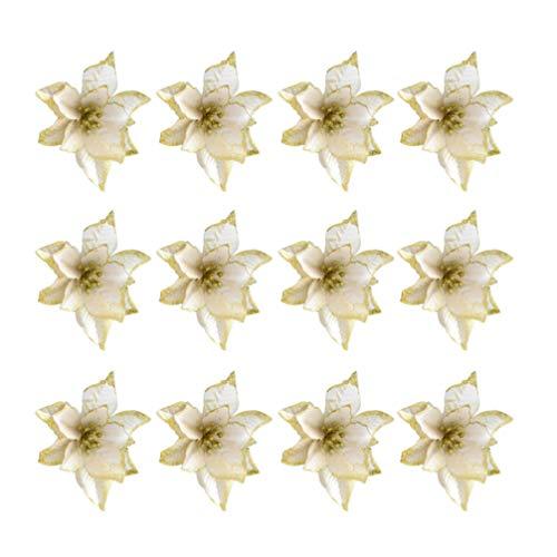 TOYANDONA 24 Piezas de Flores Artificiales de Navidad Adornos de árbol de Navidad de Flor de Pascua Dorada (13 cm)