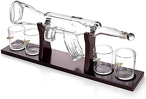 Ghongrm Decantador de Whisky, decantador de Armas AK47 Hecho a Mano, con Soporte de Madera y 4 Taza de Balas, dispensador de Bebidas para Vino, Brandy, Bourbon, escocés y Licor