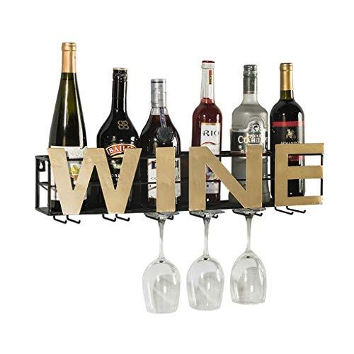 Estantería de vino, Boutique Wine Rack Rack Montado en la pared Montado en la pared Hogar de la casa Colgando al revés Barra de la cocina Barra de la barra de la pared Hierro forjado Hierro de vino Co