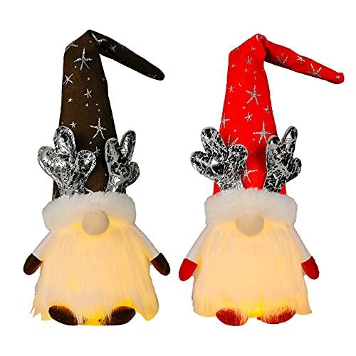 Adorable felpa gnomos muñecas decoración Navidad hecho a mano sueco enano luminoso sombrero largo paño muñecas mesa ventana pantalla
