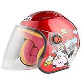 JKSX Casque De Scooter pour Enfants, Casque De Vélo pour Enfants, Moto, Casquette De Sécurité Cartoon pour Enfants De 3 À 8 Ans, pour Enfants De 46 À 52 Cm, Rouge