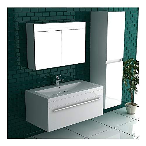 Alpenberger badkamermeubel Garda wastafel gemaakt van massief gegoten mineraal incl. wastafelmeubel met softclose-functie wit hoogglans | Design badkamermeubelset extra voor uw perfecte badkamer