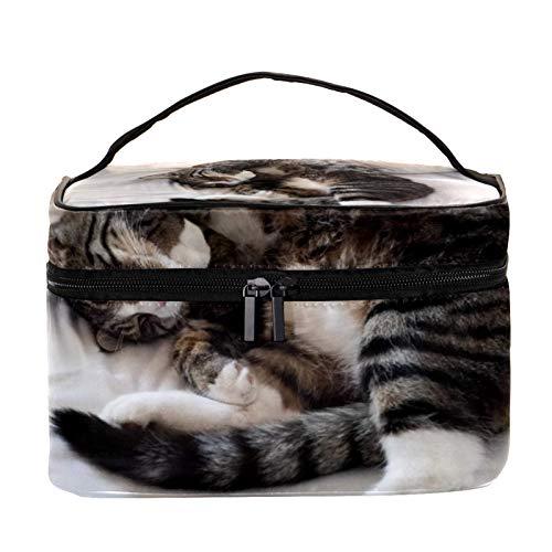 Reise-Make-up-Tasche Große Kosmetiktasche,Katzenbett zum Schlafen ,Make-up-Tasche Organizer für Frauen und Mädchen