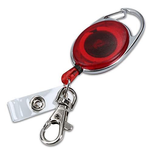 kwmobile Schlüssel Jojo mit Ausweis Clip - Schlüsselanhänger ausziehbar - Kartenhalter Karabiner Anhänger - Schlüsselband mit Karten Halter