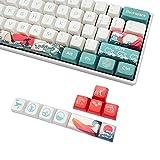 Custom Keycaps, XDA Profile PBT Keycaps, Japanese Ukiyo-e Coral Sea Style Keycaps for Mechanical Keyboards, Full 108 Key Set with Key Puller (Coral Sea)
