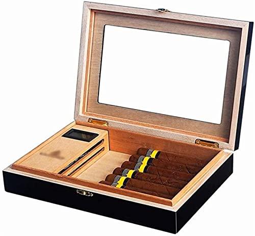 GAOYINMEI Cave Cigare Humidor Boîte de Bureau de cigares de cèdre, humidificateur de cigares Portable Exquis, Accessoires Uniques et cigares (Color : Black)