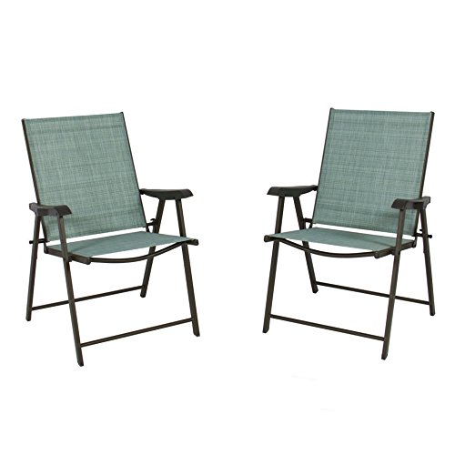 koonlert14 Patio Folding Chairs Sling Bistro Set Outdoor Furniture Camping Deck Garden Pool Beach - Set of 2#247