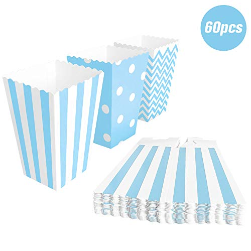 BangShou 60pcs Cajas de Palomitas Cartón Caramelo Contenedor Cine Pequeñas Cajas de Palomitas de Maíz 12 x 7.5cm (Azul)