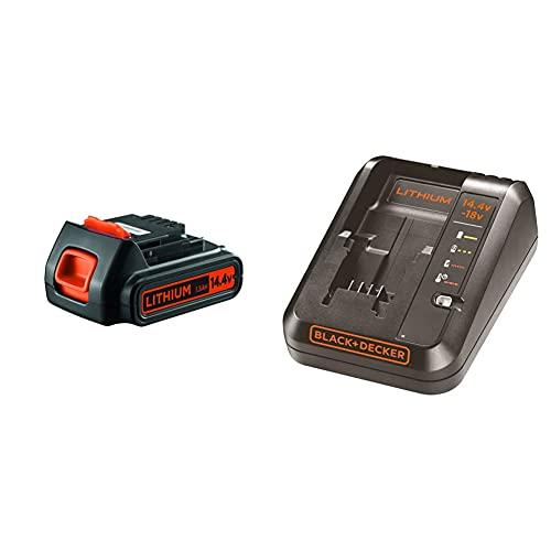 Black+Decker BL1514-XJ Batería de Litio de 14,4 V, 14.4 V + BDC1A-QW Cargador para baterías de Litio 14.4 y 18V
