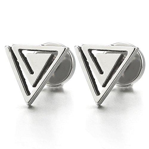 Ohrringe für Herren Damen, Spirale Dreieck Ägypten-Pyramide Ohrstecker, Edelstahl Gestüt Ohrringe, Ohrschmuck, 2 Stück