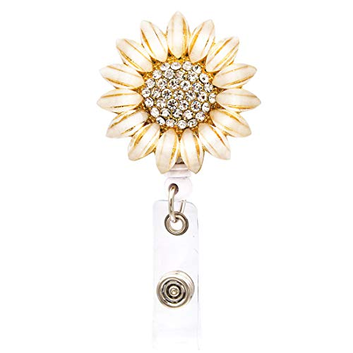 Ascrafter Luxury Flower Retractable Name Card Badge Holder with Alligator Clip, ID Badge Reel Clip On Card Holders
