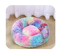 ペットの犬のベッド快適なドーナツの丸い犬の犬小屋ウルトラソフトウォッシャブル犬と猫クッションベッド冬の暖かいソファ、レインボーブルー、60cm 12Kg睡眠