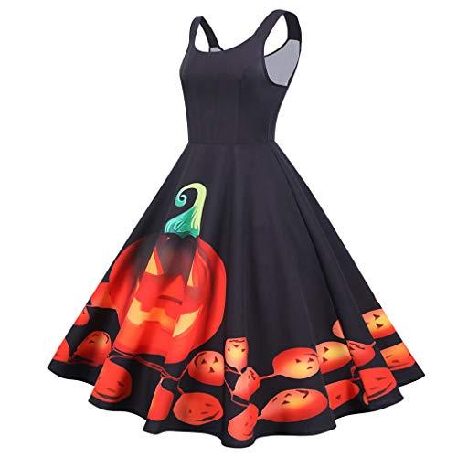 Damen Halloween Kleider, Mode Frauen Cocktailkleid Vintage Schulterfrei äRmellos Halloween Kleider Ballkleid Abendkleider Midikleid Knielang Kleid Swing Kleid