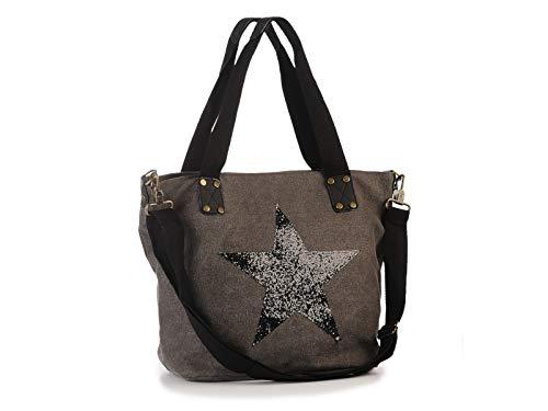 Shopping Tasche - Einkaufstasche - Schultertasche - Henkeltasche mit Motiv Handtasche mit Stern 37 x 14 x 33 cm - Geschenk Idee Geburtstag Mitbringsel Ostern Weihnachten (grau)
