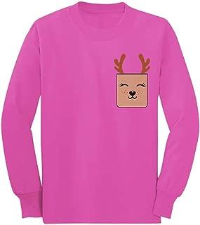 Holiday Cute Reindeer Christmas Pocket Printed Toddler/Kids Long Sleeve T-Shirt
