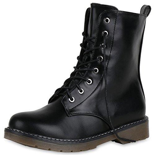 SCARPE VITA Damen Stiefeletten Leicht Gefütterte Stiefel Worker Boots Schuhe 168048 Schwarz Profilsohle 36