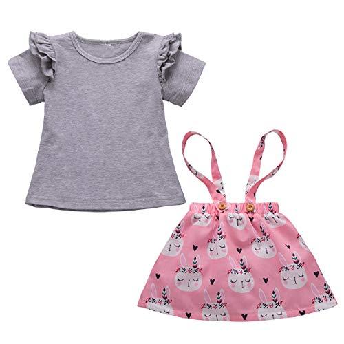 Haokaini Peuter Baby Meisjes Konijn Outfits Set Ruches Top Shirt Suspender Rok Kleding Set