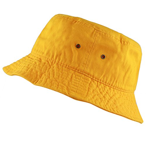 The Hat Depot 300N Unisex 100% Cotton Packable Summer Travel Bucket Hat (L/XL, Gold)