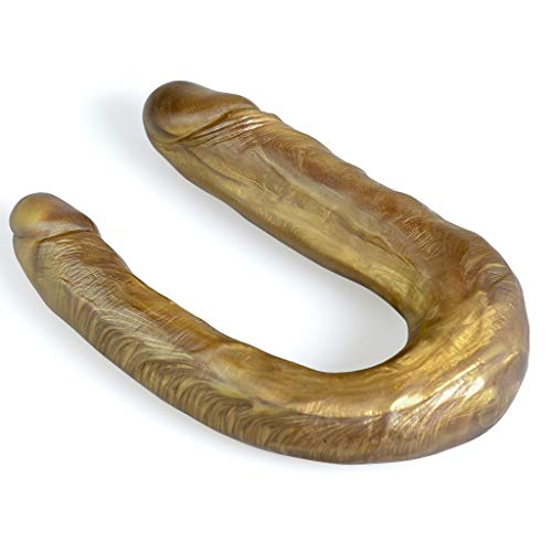 SBBBYJ Multifunctional Toys Huge Long Waterproof Double Head Dîldɔ 10Inches Lifelike Double Headed Ðîl`dɔ Waterproof Flexible Double Sided Penî's Wand (Gold) Best Gift