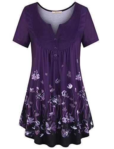 Bebonnie Women's Vintage Short Sleeve V Neck Pleated Tunic Shirt Multicolor Violet L
