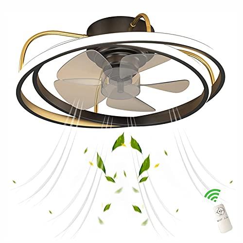 JZlamp Lámpara Moderna de Ventilador Creativo Ultrafino de la Simplicidad con Control Remoto, Ventilador de Techo de Velocidad y Temperatura de Color Ajustable con Luces