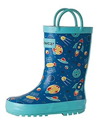 OAKI Kids Rubber Rain Boots Easy-On Handles, Outer Space, 13T US Toddler