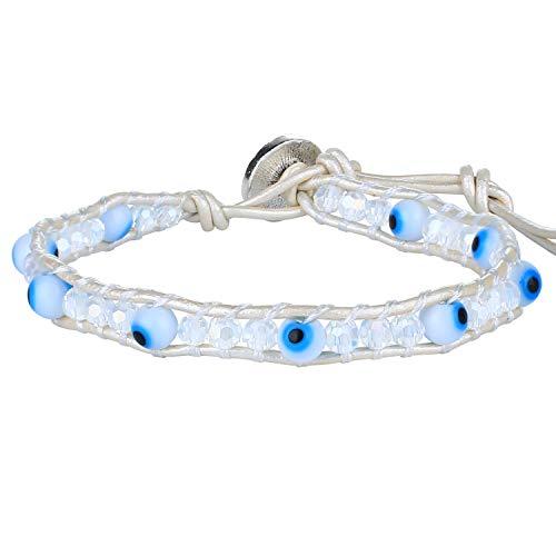 KELITCH White Leather Wrap Bracelets Evil Eye Beaded Bracelets Shell Knot Women Strand Bracelets