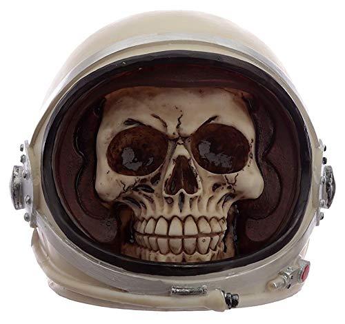 NAMENLOS Gothic-Totenkopf in Astronautenhelm | Fantasy Skull, Totenschädel, Kopf-Skulptur, Statue, Figur, H 14 cm